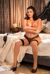 Curvy Brunette Keisha Grey In Stockings 04