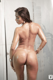 Steamy Seductress With Smoky Eyes Showcasing Her Curves In The Shower 15