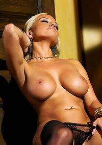 Busty Blonde Bree Shows Pussy
