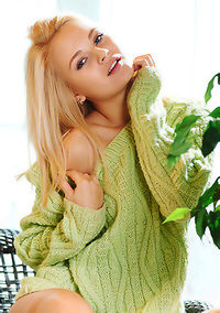 Cute Teen Gilr Talia Strips Off Her Green Dress