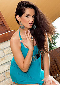 Sandra Shine Strips Off Her Blue Dress Outdoors