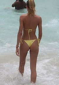 Celeb Babe Candice Swanepoel In Yellow Bikini
