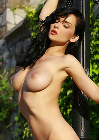 Busty Jenya Posing Naked Outdoors