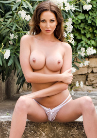 Cara Steel In Sexy White Lace Outdoors