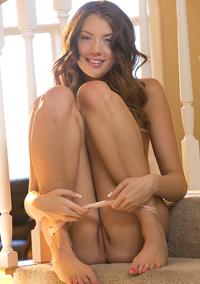Gorgeous Elena Koshka Strips On The Stairway