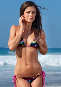 Czech Brunette Caprice A Strips On The Beach