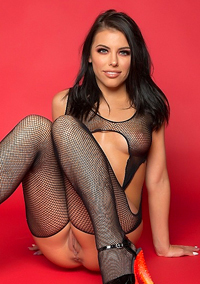 Adriana Chechik Splits Legs In Fishnet