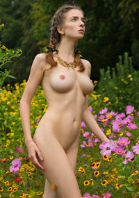 Big Boobed Teen With Flowers
