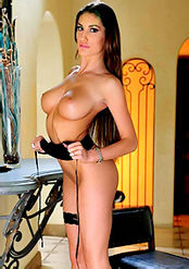AUGUST AMES STRIPS OFF HER BLACK LINGERIE