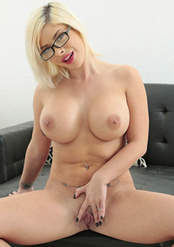 Sara St Clair Big Fake Boobed Blonde MILF Strips